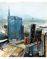 Alessandro Russo, Milano Nuovi Profili 2014, acrilico su cartone, 60x70 cm