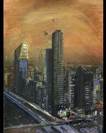 Alessandro Russo, Milano di notte, acrilico su carta intelata, 98x68 cm