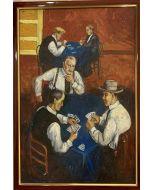 Scuola Francese, giocatori di carte, olio su tavola, 22x34 cm (25x36 con cornice)