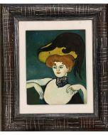 Scuola Francese, Dama in stile Toulouse-Lautrec, olio su tavola, 18x23 cm (35x41 cm con cornice)