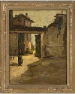 Scuola macchiaiola, Cascina, olio su tavola, 38,5x30 cm (39x48 cm con cornice), 1952