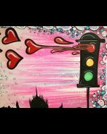 La Pupazza, Semaforo cuore, acrilico e spray su tavola, 80x60 cm