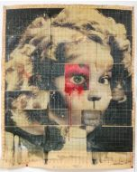 Enrico Pambianchi, Shirley, collage, olio, acrilico, matite, gessetti, resine su cartone d'arazzo, 90x74 cm
