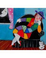 Anna Àntola, Sognando Pablo, olio su tela, 27x29 cm