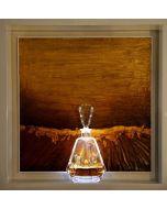 Andrea Morreale, Stanza mentale con parquette, olio su tavola, cristallo, 2 dl Brandy Miguel Torres 20 hors d'age, illuminazione a led con controllo acustico, 63x63x15 cm