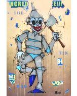 Yux, The Tin Man, acrilico, pastelli a cera e manifesti su ecopelle ramata, 100x150 cm