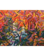 Milo, Tramonto sull'isola, acrilico su tela, 80x100 cm