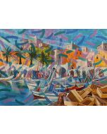 Milo, Trani, il porto, acrilico su tela, 50x70 cm