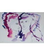 Ernesto Treccani, Innamorati, serigrafia, 35x50 cm