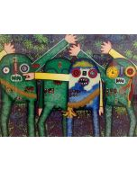 Enrico Baj, Tu quoque, Brute, serigrafia a colori e collage, 83x67 cm, 1979