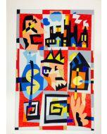 Ugo Nespolo, Fantasia in rosso, serigrafia polimaterica, 100x70 cm