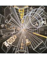 Simona Della Bella, Vertipolis, tecnica mista e applicazioni metalliche su tavola, 100x100 cm