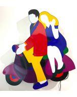 Marco Lodola, Vespa, scatola (scultura) luminosa, 110x84x12cm, 2018