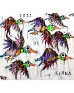 Yux, Voli di linea, acrilico e smalto su tela, 110x110 cm
