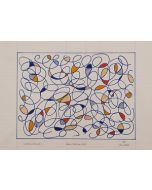 Bruno Budassi (Del Buda), Vortici stellari, pennarello su carta a righe, 42x30 cm