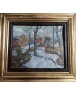Anonimo, Paesaggio, acquerello  su carta, 30x34 cm (con cornice)