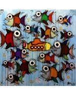 Yux, Yellow & Fishes, acrilico pastelli a cera e manifesti su tela, 100x100 cm